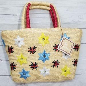 Vintage Sears Wicker Straw Weave Beach Tote Bag